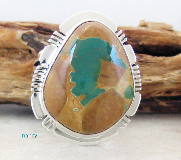 Image 1 of    Boulder Turquoise & Sterling Silver Ring Size 8 Native American - 3314sn