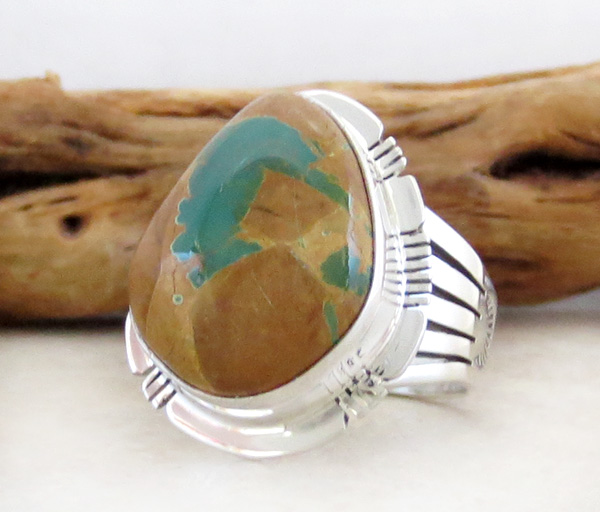 Image 3 of    Boulder Turquoise & Sterling Silver Ring Size 8 Native American - 3314sn