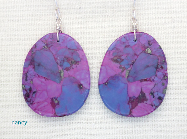 Image 0 of  Magenta Turquoise Slab EarringsNative American Jewelry Kewa - 3847pl