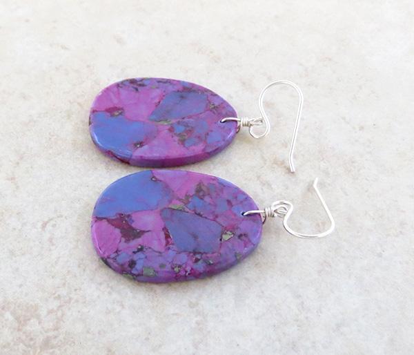 Image 1 of  Magenta Turquoise Slab EarringsNative American Jewelry Kewa - 3847pl