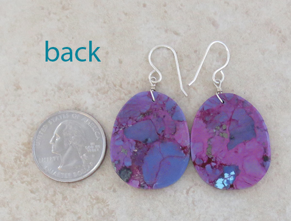 Image 2 of  Magenta Turquoise Slab EarringsNative American Jewelry Kewa - 3847pl