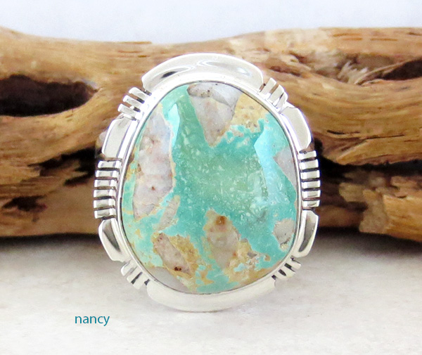 Boulder Turquoise & Sterling Silver Ring Size 8 San Felipe - 3315sn