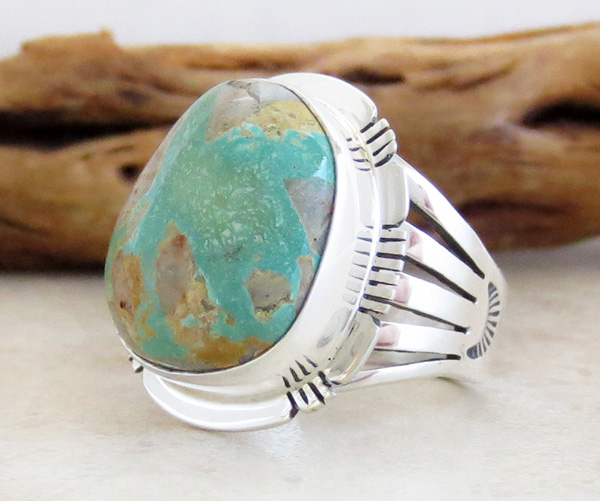Image 2 of      Boulder Turquoise & Sterling Silver Ring Size 8 San Felipe - 3315sn