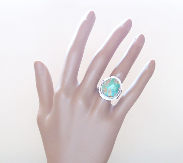 Image 5 of      Boulder Turquoise & Sterling Silver Ring Size 8 San Felipe - 3315sn