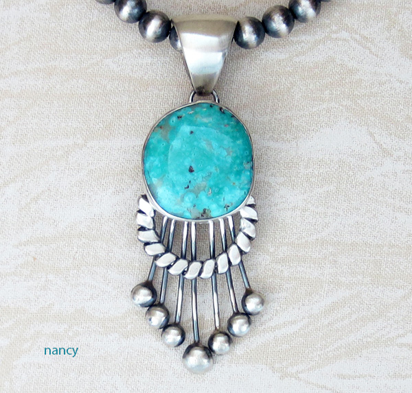 Image 0 of Large Old Style Turquoise & Sterling Silver Pendant Navajo Made - 3853tag