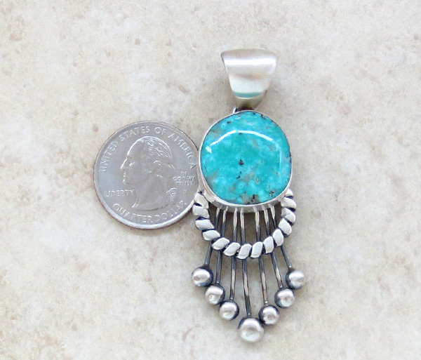 Image 1 of Large Old Style Turquoise & Sterling Silver Pendant Navajo Made - 3853tag