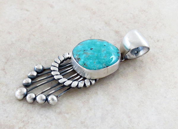 Image 3 of Large Old Style Turquoise & Sterling Silver Pendant Navajo Made - 3853tag