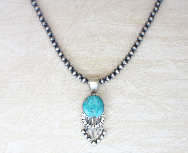 Image 5 of Large Old Style Turquoise & Sterling Silver Pendant Navajo Made - 3853tag