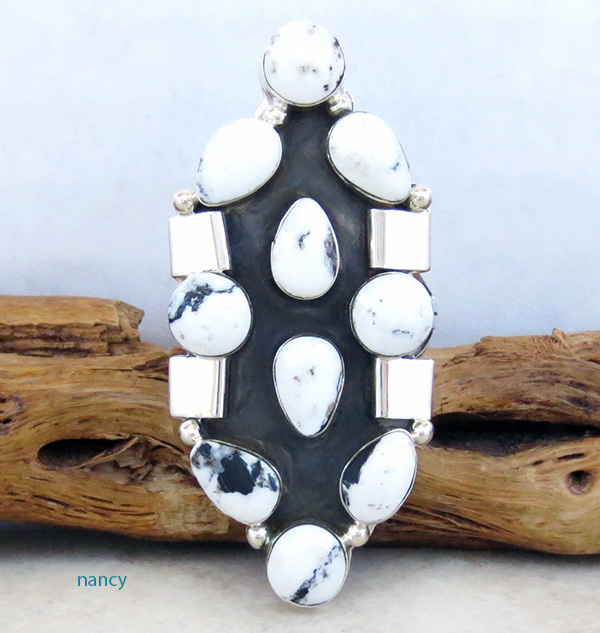 Huge White Buffalo Stone & Sterling Silver Ring Size 11 - 1936rb