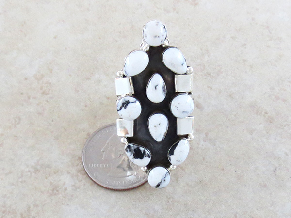 Image 3 of     Huge White Buffalo Stone & Sterling Silver Ring Size 11 - 1936rb
