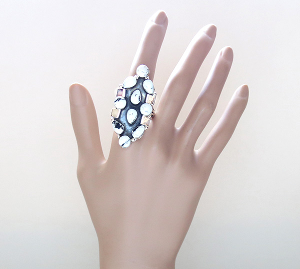 Image 5 of     Huge White Buffalo Stone & Sterling Silver Ring Size 11 - 1936rb
