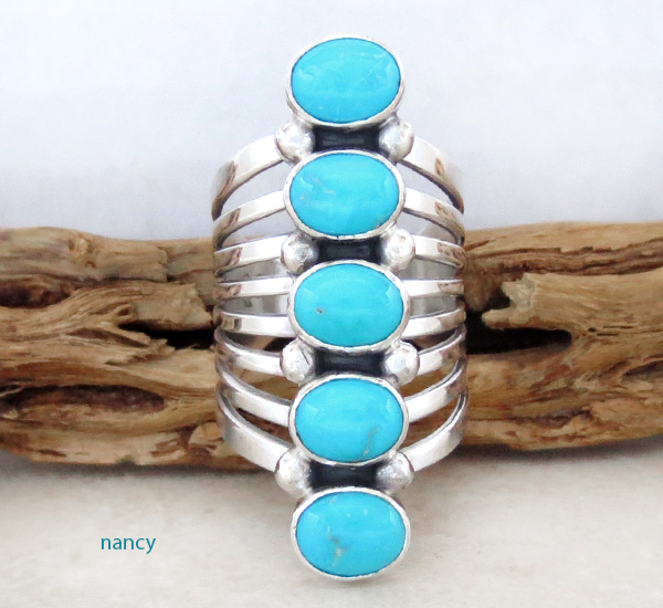 Navajo Made Big Multi Turquoise Stone & Sterling Silver Ring Size 10 - 1948rb