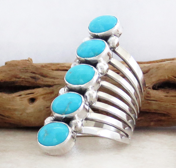 Image 2 of  Navajo Jewelry Big Turquoise & Sterling Silver Ring Size 10 - 1948rb