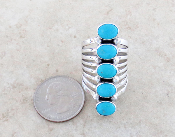 Image 3 of  Navajo Jewelry Big Turquoise & Sterling Silver Ring Size 10 - 1948rb