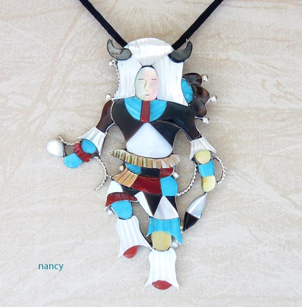 Image 0 of Big Zuni Inlay Buffalo Dancer Pendant Pin By Artist Jonathon Beyuka - 3857rb