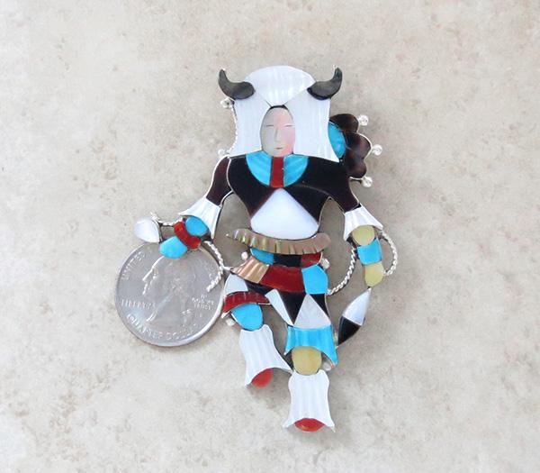 Image 1 of Big Zuni Inlay Buffalo Dancer Pendant Pin By Artist Jonathon Beyuka - 3857rb