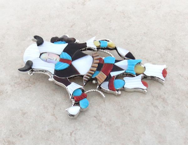 Image 2 of Big Zuni Inlay Buffalo Dancer Pendant Pin By Artist Jonathon Beyuka - 3857rb