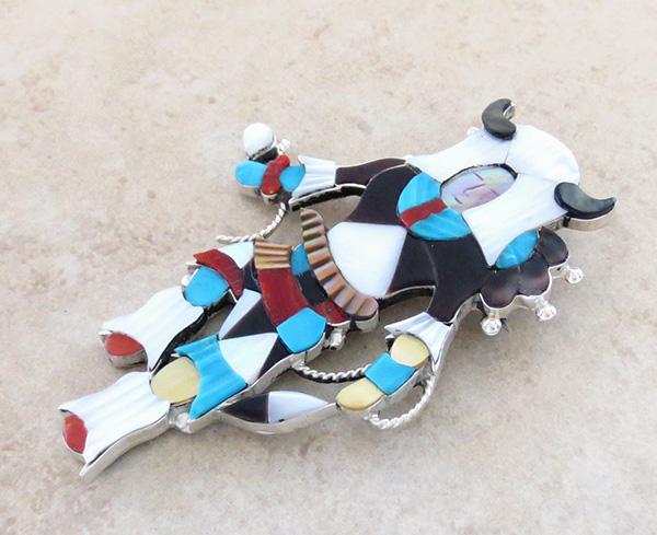 Image 3 of Big Zuni Inlay Buffalo Dancer Pendant Pin By Artist Jonathon Beyuka - 3857rb
