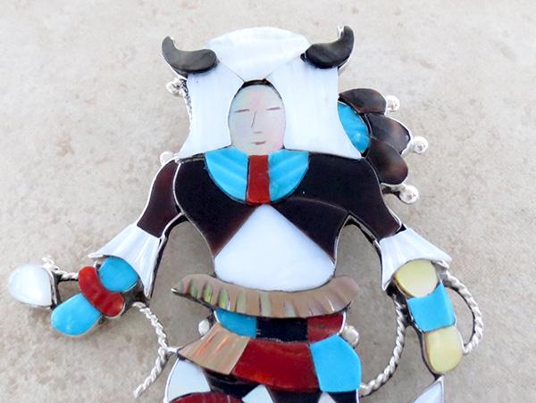 Image 4 of Big Zuni Inlay Buffalo Dancer Pendant Pin By Artist Jonathon Beyuka - 3857rb
