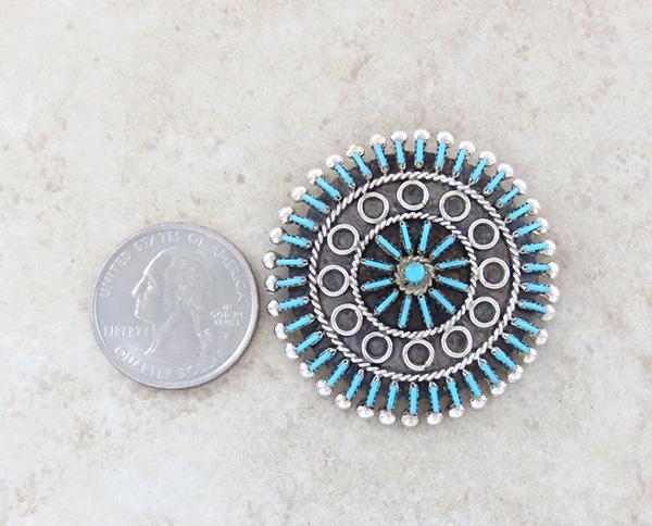 Image 1 of  Needlepoint Cluster Turquoise Pendant Zuni Philander Gia - 3860rb