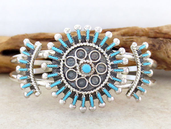 Needlepoint Cluster Turquoise Bracelet Zuni Philander Gia - 3324rb