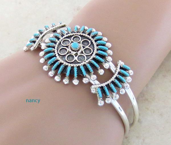 Image 1 of  Needlepoint Cluster Turquoise Bracelet Zuni Philander Gia - 3324rb