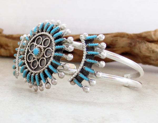 Image 3 of  Needlepoint Cluster Turquoise Bracelet Zuni Philander Gia - 3324rb
