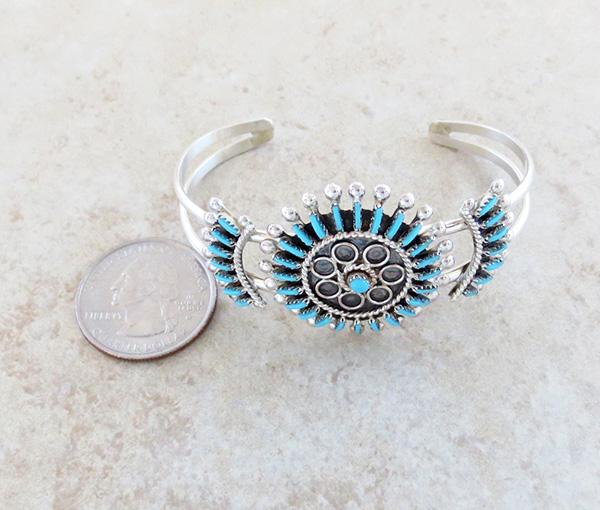 Image 4 of  Needlepoint Cluster Turquoise Bracelet Zuni Philander Gia - 3324rb