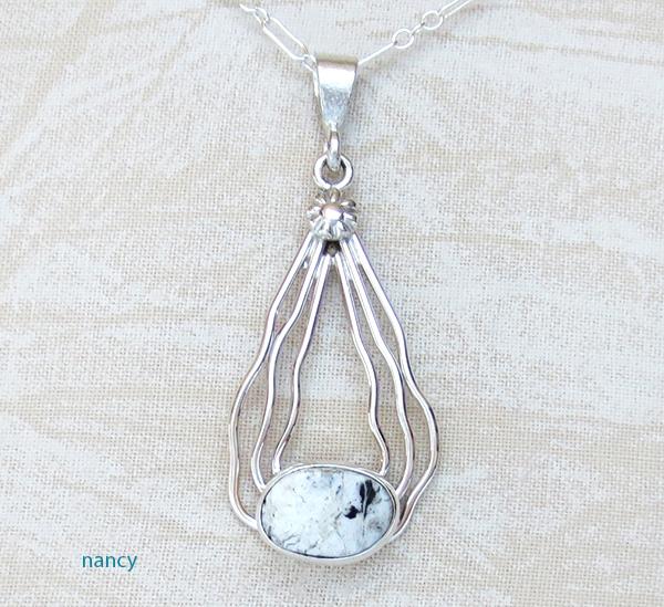 White Buffalo Stone & Sterling Silver Curvy Wire Pendant - 1745sn