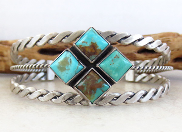 Old Style Turquoise & Sterling Silver Bracelet Navajo - 1732tag