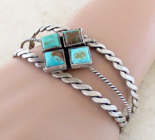 Image 1 of  Old Style Turquoise & Sterling Silver Bracelet Navajo - 1732tag