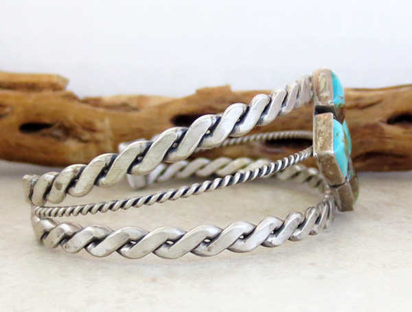 Image 2 of  Old Style Turquoise & Sterling Silver Bracelet Navajo - 1732tag