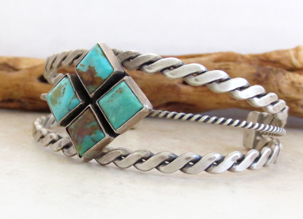 Image 3 of  Old Style Turquoise & Sterling Silver Bracelet Navajo - 1732tag