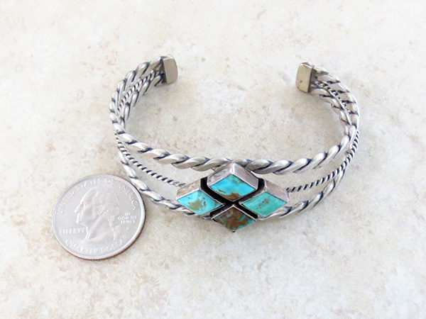 Image 4 of  Old Style Turquoise & Sterling Silver Bracelet Navajo - 1732tag