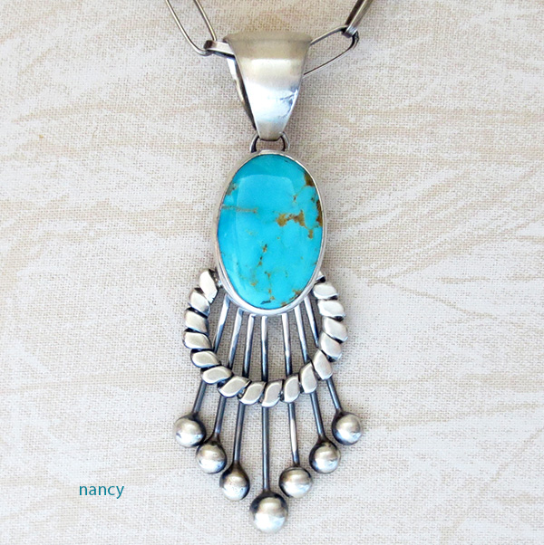 Large Old Style Turquoise & Sterling Silver Pendant Navajo Made - 3325tag