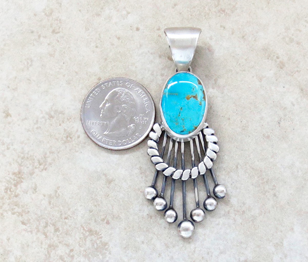 Image 1 of    Large Old Style Turquoise & Sterling Silver Pendant Navajo Made - 3325tag