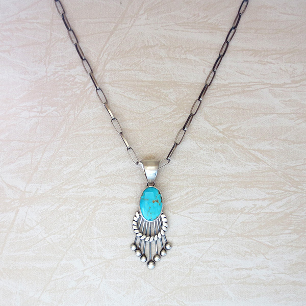 Image 5 of    Large Old Style Turquoise & Sterling Silver Pendant Navajo Made - 3325tag