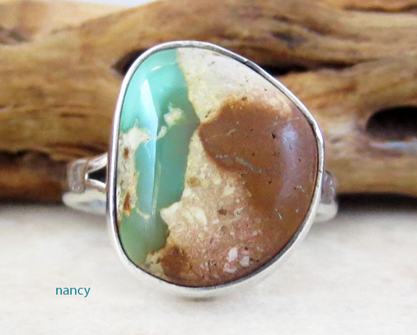 Image 0 of   Native American Turquoise & Sterling Silver Ring Size 8 - 1934sn