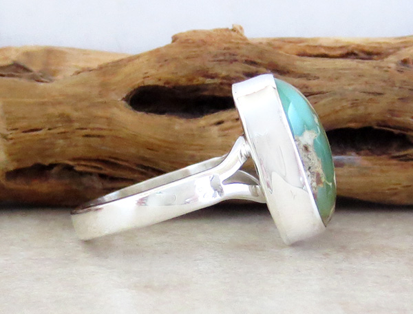Image 1 of    Native American Turquoise & Sterling Silver Ring Size 8 - 1934sn