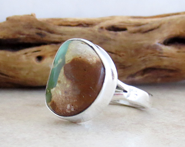 Image 2 of    Native American Turquoise & Sterling Silver Ring Size 8 - 1934sn