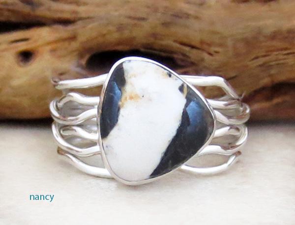 Navajo White Buffalo Stone & Sterling Silver Ring Size 8 - 1916sn