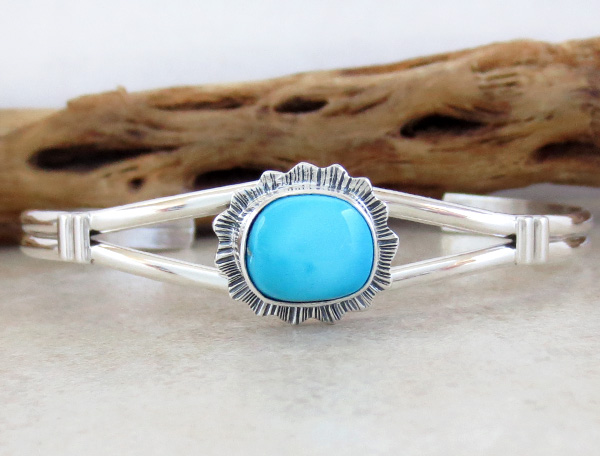 Turquoise & Sterling Silver Bracelet Navajo Made - 3859sn