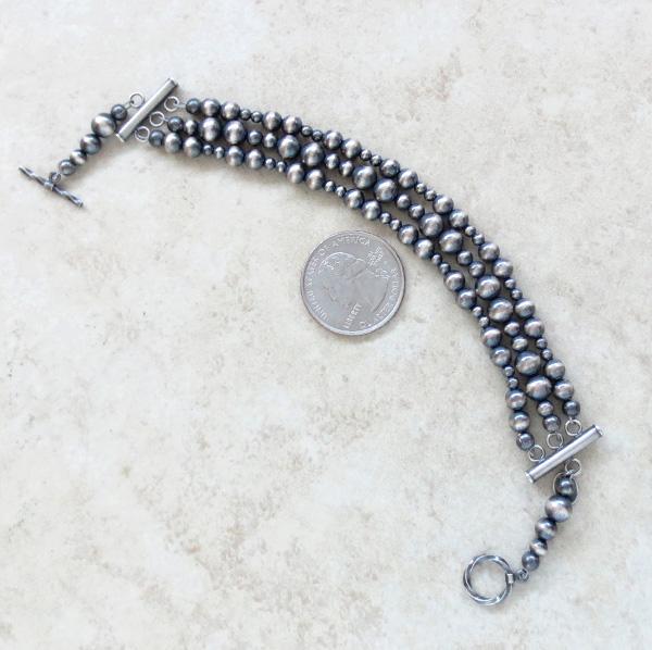 Sterling Silver Desert Pearls Toggle Bracelet Navajo  - 3869tag