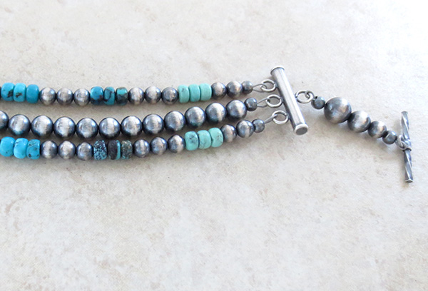 Image 3 of  Turquoise Sterling Silver Desert Pearls Toggle Bracelet Navajo - 1918tag