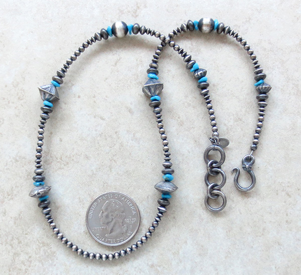 Turquoise & Sterling Silver Desert Pearl Necklace 18 Navajo - 1951tag