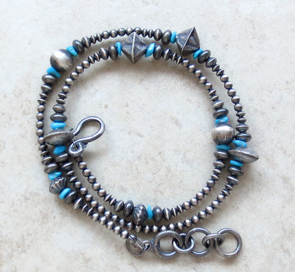 Image 1 of  Turquoise & Sterling Silver Desert Pearl Necklace 18