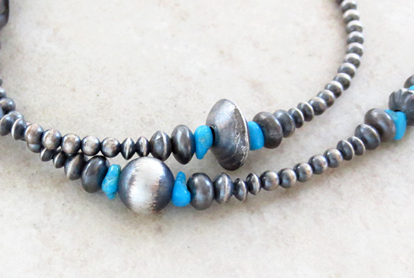 Image 2 of  Turquoise & Sterling Silver Desert Pearl Necklace 18