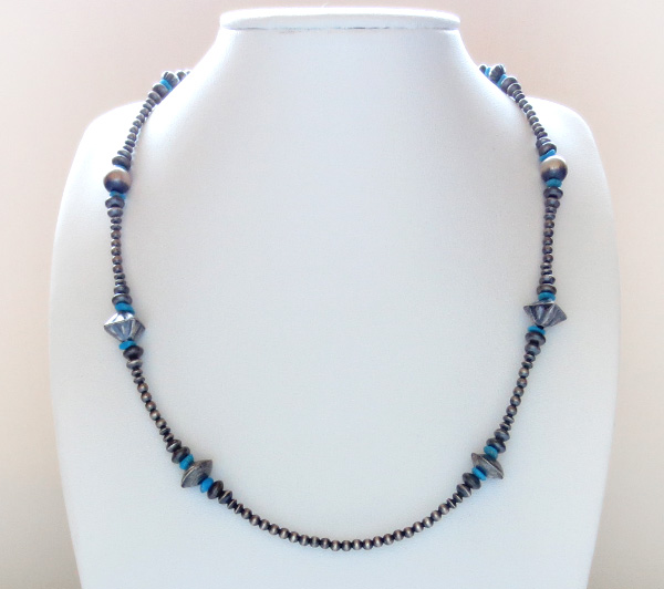 Image 3 of  Turquoise & Sterling Silver Desert Pearl Necklace 18