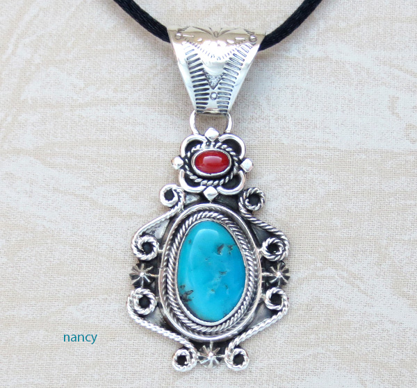 Turquoise Coral & Sterling Silver Pendant Daniel Benally - 3871rb
