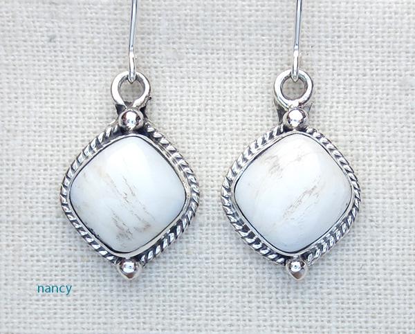 Navajo Made White Buffalo Stone & Sterling Silver Earrings - 2089sn